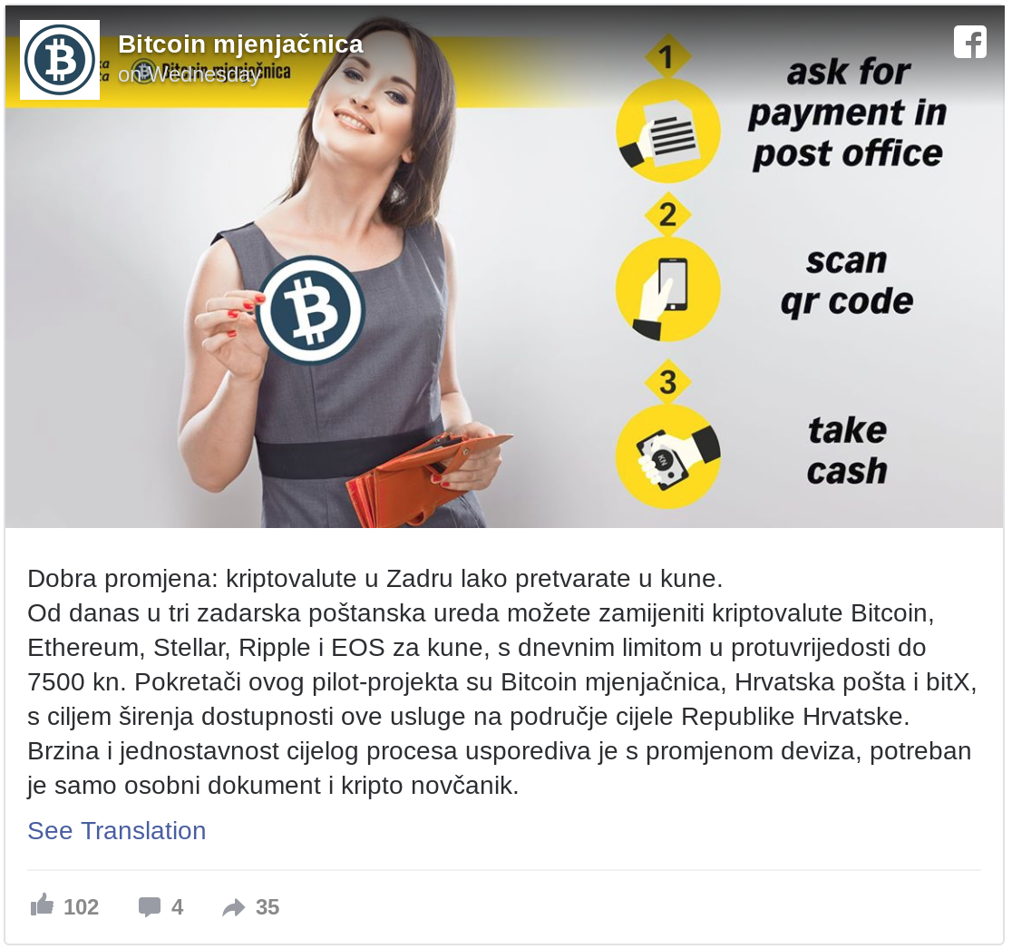1,016 Post Offices Converting Cash Into Bitcoin, Ethereum, Stellar, Ripple (XRP) and EOS in Crypto-Friendly Croatia